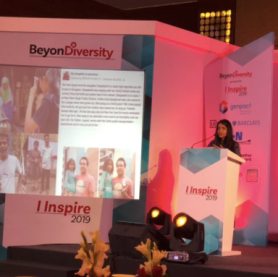 Kaavya speaking about MDIP at Iinspire 2019 by the BD (Beyond Diversity) foundation